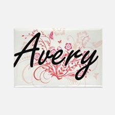Avery surname artistic design with Flowers Magnets