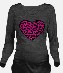 Cute Leopard print Long Sleeve Maternity T-Shirt