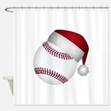 Christmas Baseball Shower Curtain