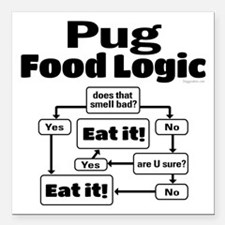 "Pug Food Square Car Magnet 3"" x 3"""