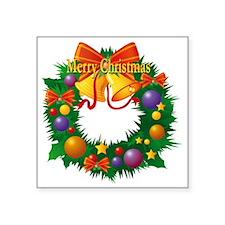 "Christmas Wreath Square Sticker 3"" x 3"""
