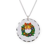 Christmas Wreath Necklace Circle Charm