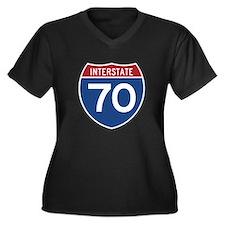 Interstate 70 Women's Plus Size V-Neck Dark T-Shir