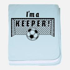 Im a Keeper soccer fancy black.png baby blanket