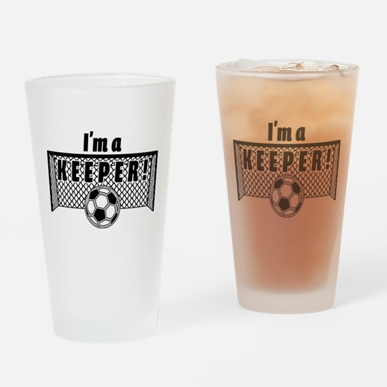 Im a Keeper soccer fancy black.png Drinking Glass