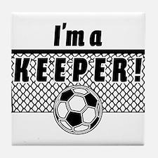 Im a Keeper soccer fancy black.png Tile Coaster