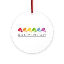 Rainbow Badminton Ornament (Round)