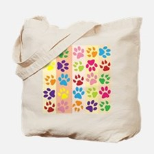 Colored Paw Prints Tote Bag