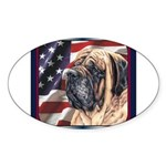 Mastiff Dog Patriotic USA Flag Oval Sticker
