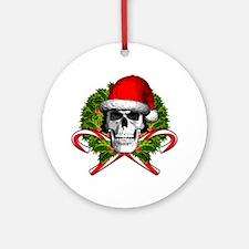 Christmas Skull Round Ornament