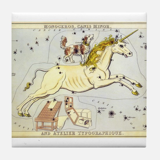 Vintage Unicorn Constellation Tile Coaster
