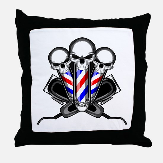 Barber Skulls Throw Pillow