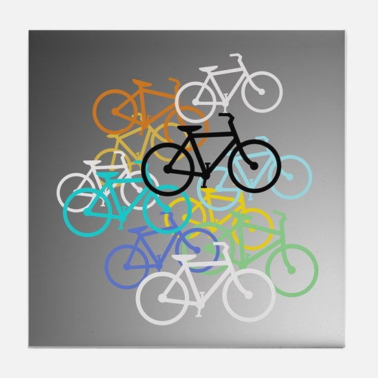 Colored Bikes Design Tile Coaster