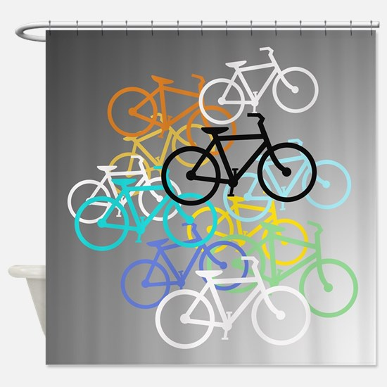 Colored Bikes Design Shower Curtain