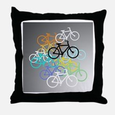 Colored Bikes Design Throw Pillow