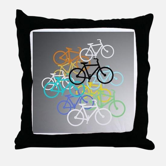 Colored Bikes Design Throw Pillow