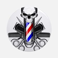 Barber Skull: Barber Tools Round Ornament