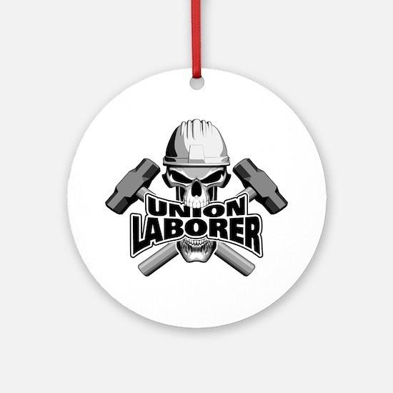 Union Laborer Skull Round Ornament
