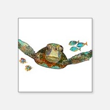 "Funny Sea turtle Square Sticker 3"" x 3"""