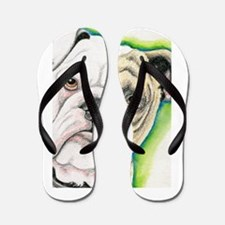 English Bulldog Drawing Flip Flops