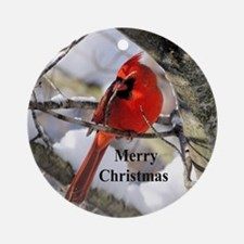 Snow Cardinal Round Ornament