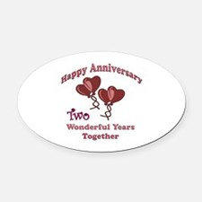 2nd. Anniversary Oval Car Magnet