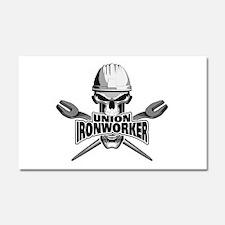 Union Ironworker Skull Car Magnet 20 x 12