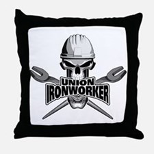 Union Ironworker Skull Throw Pillow