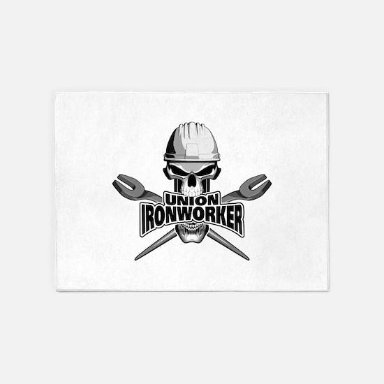 Union Ironworker Skull 5'x7'Area Rug