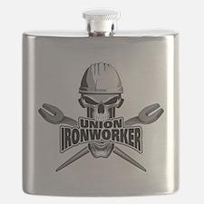Union Ironworker Skull Flask