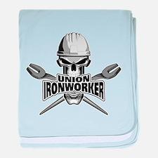 Union Ironworker Skull baby blanket
