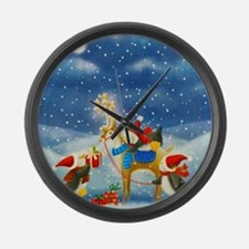 Penguin and Reindeer Christmas Large Wall Clock