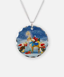 Penguin and Reindeer Christmas Necklace