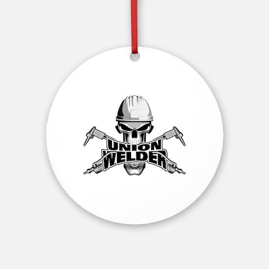 Union Welder Skull Round Ornament