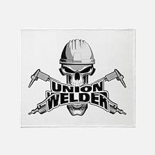 Union Welder Skull Throw Blanket