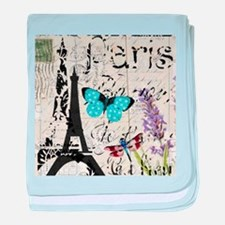 Floral butterfly paris Eiffel Tower baby blanket