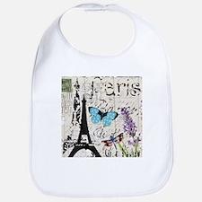 Floral butterfly paris Eiffel Tower Bib
