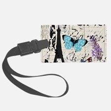 Floral butterfly paris Eiffel T Luggage Tag