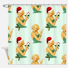 vintage pin up christmas Shower Curtain