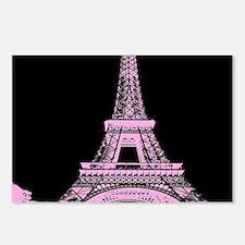 pink paris eiffel tower Postcards (Package of 8)
