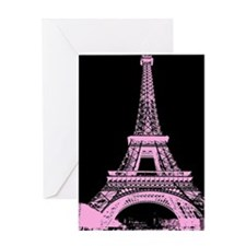 pink paris eiffel tower Greeting Cards