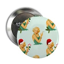 """vintage pin up christmas 2.25"""" Button"""