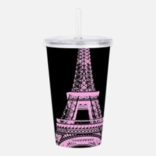 pink paris eiffel towe Acrylic Double-wall Tumbler