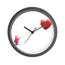 Night illustration Heart and sky.png Wall Clock