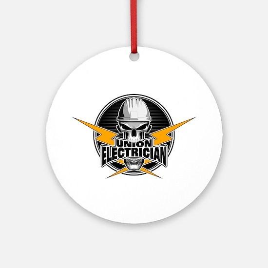 Union Electrician Skull Round Ornament