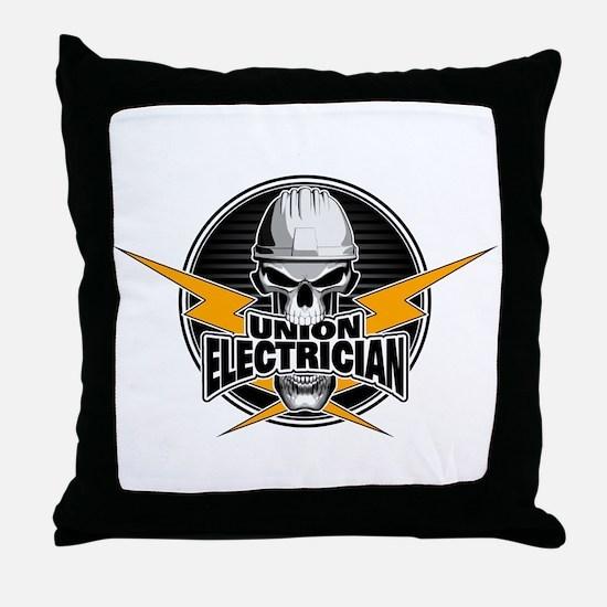 Union Electrician Skull Throw Pillow