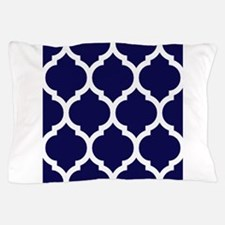 Navy Blue Moroccan Quatrefoil Pillow Case