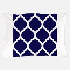 Navy Blue Moroccan Quatrefoil Pillow Case