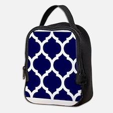 Navy Blue Moroccan Quatrefoil Neoprene Lunch Bag