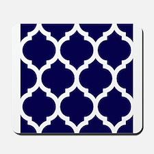 Navy Blue Moroccan Quatrefoil Mousepad